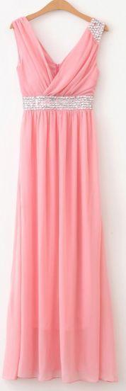 #SheInside Pink V Neck Sleeveless Full Length Chiffon Dress