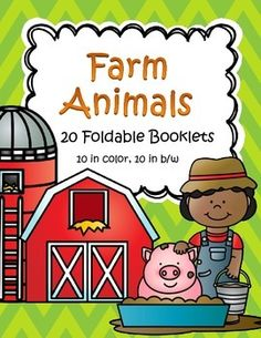 FARM ANIMALS Foldable Booklets20 foldable informational booklets for early learners - 10 are in full color, 10 are in in b/w for economical printing, and for the children to color. 22 pagesFarm animals included are: cow, sheep, horse, pig, goat, hen, turkey, goose, herding dog, cat.Information in the booklets includes - their names, where they live, the food they eat, and an interesting fact about them.