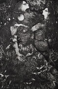 Macabre, detailed black and white illustrations by Ikuma Nao