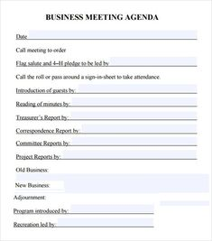 Informal Meeting Agenda  Minutes Templates    Template