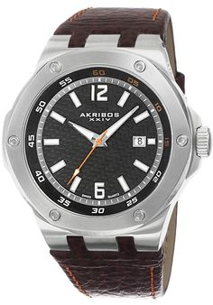 Akribos XXIV AK651BR Watches,Men's Brown Genuine Leather Black Dial Contrast Stitching, Casual Akribos XXIV Quartz Watches
