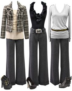 A pair of basic slacks, a great white shirt, and a blazer or jacket are important building blocks of a core wardrobe. Choose a color such as black for the slacks, or use gray, as shown here. Such neutral colors and pieces can be paired multiple ways to create numerous outfits with only a few garments.