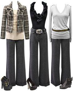 Gray slacks three ways.
