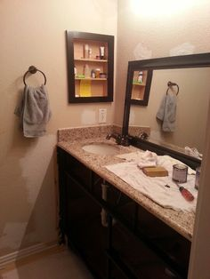Bathroom Mirror Java my kids' bathroom, before & after :) patience and hard work pays