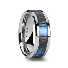Men's Tungsten Wedding Band With Mother of Pearl Inlay ($170, originally $250)
