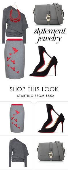 """#PolyPresents: Statement Jewelry"" by chanelkrazy ❤ liked on Polyvore featuring Christian Louboutin, Tom Ford, Salvatore Ferragamo, M&Co, contestentry and polyPresents"