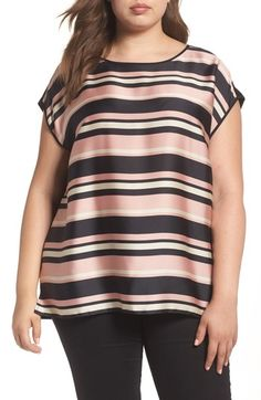 4d5e668aa485d4 Free shipping and returns on Vince Camuto Modern Chords Mixed Media Top (Plus  Size)
