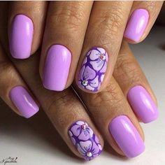 Everyday nails flower nail art Lilac gel nail Nails ideas with flowers Nails with flower print Plain nails Purple nails Purple shellac Purple Nail Art, Floral Nail Art, Best Nail Art Designs, Beautiful Nail Designs, Hot Nails, Hair And Nails, Plain Nails, Flower Nails, Stylish Nails