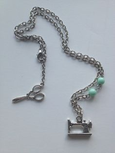 Sewing Machine Necklace with Hanging Back Scissors