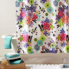 Tropical Garden Shower Curtain | PBteen - anyone see decals, wallpaper, etc. to match?