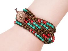 Get the Redwood Wrap Bracelet Kit by Cynthia Kimura at Artbeads.com, a kit that includes everything you need to make a leather wrap bracelet featuring brown, turquoise and red colors.