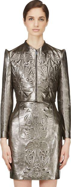 Iris van Herpen - Pewter Cropped Embossed Leather Jacket | SSENSE