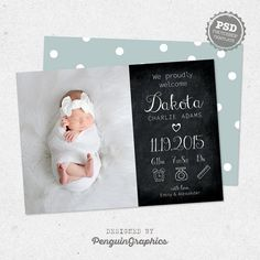 Modern birth announcement template card to announce the little one to the world! Ideal for photographers to use for their clients or for personal use if you are familiar with Photoshop files. Add your photo, edit the text and you are ready to print!  *** Includes *** • 2 PSD files, 5x7 inches card design (front and back). • Fully editable layered PSD files at 300dpi. Easily edit text and colors. • List with links of the free fonts that are used for you to download. Compatible with Photoshop…