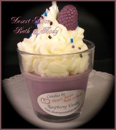 Raspberry Vanilla Cupcake Candle made with a Soy Wax Blend Best Candles, Soy Wax Candles, Candle Wax, Diy Candles, Scented Candles, Making Candles, Cupcake Candle, Candle Craft, Homemade Candles