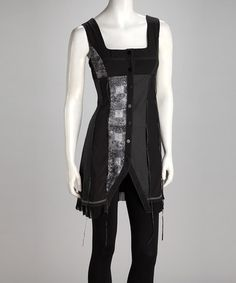Take a look at this Black Snap-Front Dress by Grifflin Paris on #zulily today!