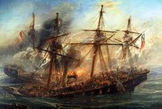 """chucrutypilsen: """"The glorious sinking of the Esmeralda """"Combate Naval de Iquique"""" - oil on canvas painting by Thomas Somerscales, XIX century, picturing the combat between Chilean steam corvette. War Of The Pacific, Inca, Armada, Historical Art, Sea Monsters, Model Ships, Ancient Art, Chile, Sailing Ships"""