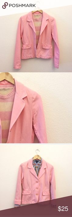 """Juicy Couture Pink Blazer In excellent preowned condition with no stains or tears. Fabric cotton, notch lapel, two front flap pockets, fitted, bust 36"""", length 23"""", sleeve length 26"""", two extras buttons, sewn inside.  Review our listing """"How I Measure Blazers"""", questions are always welcomed and please carefully review the measurements and pictures   Thank you for visiting our Closet4Causes Juicy Couture Jackets & Coats Blazers"""