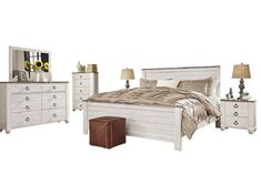 Willowton 6 PC Cal King Panel Bedroom Set w/ 2 Nightstand & Chest - Ashley in Distressed White Bedroom Furniture Sets, White Furniture, Bedroom Sets, Sleigh Bedroom Set, Ashley Bedroom, Liberty Furniture, Bedroom Night Stands, King, Queen
