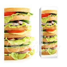 Fabric Fridge sticker SANDWICH by Sticky!!! Fridge Stickers, Wall Stickers, Wall Murals, Sandwiches, Canvas Prints, Homemade, Fabric, Food, Home Decor