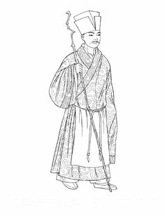 """Song Dynasty. This scholar, known for his paintings and calligraphy, wears a simple wrap coat bordered with a band with a """"knot"""" pattern. An apronlike scarf drapes the front of his coat, which is held in place by a cord. [Chinese Fashions (Dover Fashion Coloring Book)  by  Ming-Ju Sun.]"""