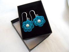 Flower Lace Earrings Ocean Teal by LaCossette on Etsy