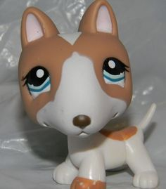 Littlest Pet Shop #1095 Tan & White Bull Terrier Puppy Dog
