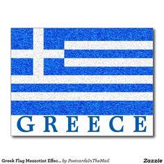 Greek Flag Mezzotint Effect Greece Postcard