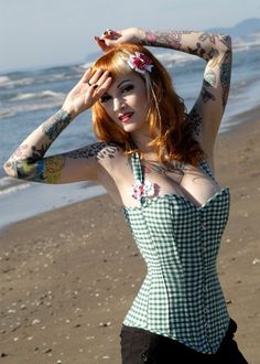 Retro gingham pin up steel boned corset by BoomBoomBabyBoutique, £130.00
