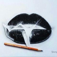 art, b&w, black, blackandwhite, drawing, lips, pencil, smoke, white