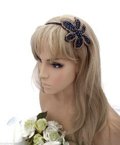 Beautiful Retro 20's Style Jet Black and Gold Beaded Flower Fascinator Tiara