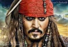 Pencil Artist Corinne's Portraits (French) | Capitaine Jack SPARROW (Johnny DEPP) by Corinne