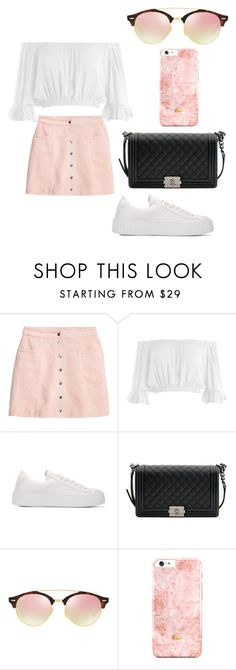 """""""white,pink, and black asthenic"""" by fashionblogger2122 on Polyvore featuring H&M, Sans Souci, Chanel and Ray-Ban"""