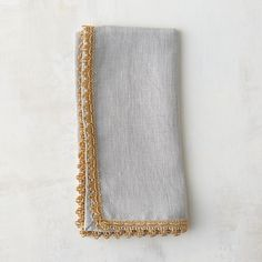 "Designed exclusively for terrain, this crisp linen napkin is finished with a festive, crocheted border in metallic thread.- A terrain exclusive- Linen- Machine wash warm; do not bleach or wring- Imported18""W, 18""L"