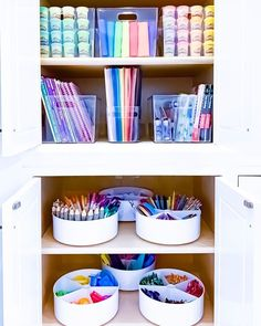 Amazing cabinet arrangement from for 😍🙌 . Does the O in ROYGBIV stand for orange or organization? 🌈🧡 Where do you store kid's school supplies and crafts? Playroom Organization, Home Organisation, Organizing, Kids Craft Storage, Craft Kids, Kids Crafts, Diy Room Decor, Home Decor, Getting Organized