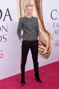Tilda Swinton attends the 2016 CFDA Fashion Awards held at the Hammerstein Ballroom in NYC.