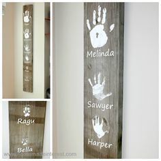 personalized family handprints on board - this is a great DIY mother's day gift!
