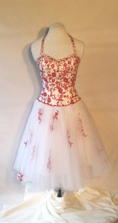 50's style red/white halter dress,tulle skirt,embroidery,beading,sequins,tea length,alternative wedding,bridesmaid,dance,upcycled,Size M by DoubleTakeGlamour on Etsy https://www.etsy.com/listing/245348155/50s-style-redwhite-halter-dresstulle