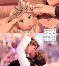*TOP: BABY RAPUNZEL ~ BOTTOM: RAPUNEL & FLYNN ~ Tangled, 2010