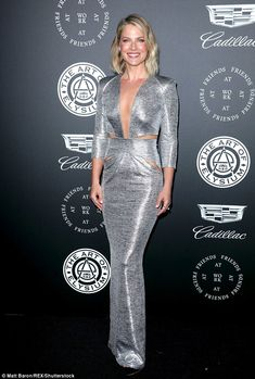Stunning in silver: Ali Larter put on quite the sultry display in silver at The Art Of Elysium Heaven gala in Los Angeles on Saturday night