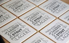 BEER types Coasters (black), Types of BEER modern design (Letterpress printed, 3.5 inches) set of 8, perfect gift for beer lover. $8.00, via Etsy.