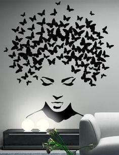 Butterflies in the head wall sticker, wall decal, butterflies wall decor, butterflies wall sticker removable vinyl wall art These stickers are made from high-quality german matt vinyl. Service life up to 7 years. Available in a choice of 35 colors. Creative Wall Painting, Wall Painting Decor, Diy Wall Decor, Art Decor, Wall Paintings, Wall Decor Stickers, Painting Art, Durga Painting, Black Painting
