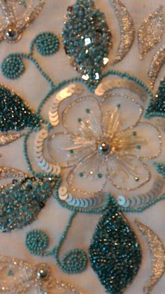 Turquoise glitzy embroidery...