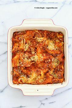 Cauliflower Alfredo Spinach Artichoke Lasagna. Vegan Nut-free Recipe | Vegan Richa (www.ChefBrandy.com)