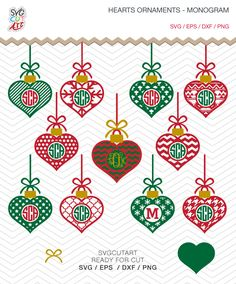Heart Ornament Monogram with Bow SVG DXF PNG eps Valentine Chrsitmas Winter Holidays Cut File Cricut Design, Silhouette studio, vinyl decal by SvgCutArt on Etsy