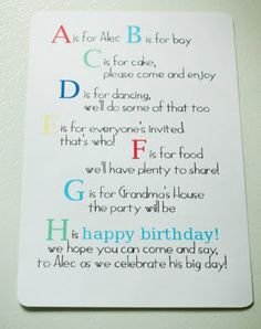 ABC 1st Birthday Party Invitation