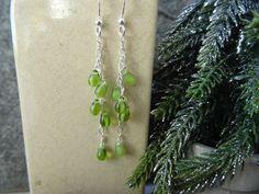 Drop Earrings  ~  Lime green ~ gift for wife, Girlfriend present, Christmas stocking by SilverWindsJewellery on Etsy