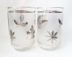 Vintage Set of Four Libbey 12oz.Frosted Glasses with Silver Leaves,  Mid Century Modern,  Barware,  Glassware,  Bar Glass, Rocks Glass