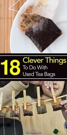 Don't throw away used tea bag! Like coffee grounds used tea bags can be utilized for many purposes flavoring pasta neutralizing odors degreasing dishes! Diy Tea Bags, Used Tea Bags, Uses For Tea Bags, Diy Cleaning Products, Cleaning Hacks, Tea Bag Art, Green Tea Bags, Clean House, Tea Time