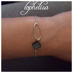 bracelet anneaux ovale, trefle noir argent925
