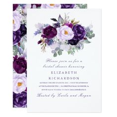 Purple Watercolor Flowers Romantic Bridal Shower Card - bridal shower gifts ideas wedding bride Spring Wedding Invitations, Engagement Party Invitations, Watercolor Wedding Invitations, Graduation Invitations, Dinner Invitations, Wedding Stationary, Graduation Gifts, Birthday Invitations, Invitation Floral